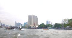 Chao Phraya river cruise boat in Bangkok at day time Stock Footage