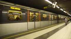 MILAN, ITALY, Train leaves from subway station. - stock footage