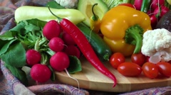 Close up of assorted fresh vegetables - stock footage