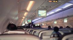Flight Attendant Check Passengers Safety - 1080p Stock Footage
