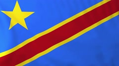 Stock Video Footage of Flag of Democratic republic of Congo waving in the wind.