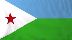 Flag of Djibouti waving in the wind. Stock Footage