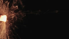 Sparkler Burning Across Frame, Close Up Stock Footage