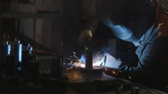 Electric Welder At Work. Many Sparks - stock footage