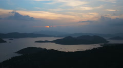 Sunset on tropical island,view from the mountain. Stock Footage