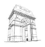 India Gate Vector Sketch Illustration War Memorial, New Delhi, India Stock Illustration