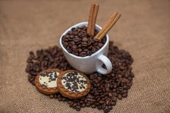 Coffee beans cinnamon cookie white cup and saucer Stock Photos