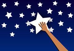 Star in hand against the sky Stock Illustration