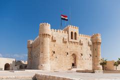 Citadel of Qaitbay fortress and its main entrance yard, Alexandria, Egypt. Stock Photos
