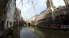 Camera pan left footage of typical dutch canal houses in Utrecht old city 4k Stock Footage