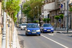 Rush Hour On Victory Avenue (Calea Victoriei) In Bucharest Stock Photos
