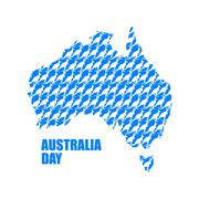 Australia Day. Map of Australia from kangaroo. Continent States and wild mars Stock Illustration