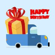 Happy birthday. Truck carries large gift box. Yellow gift box with red bow. B Stock Illustration