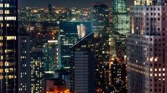Manhattan skyline night time-lapse Stock Footage