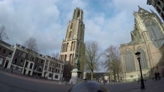 Dom square walking towards the Dom Tower in Utrecht old city centre 4k Stock Footage