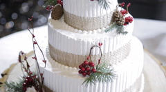 Wedding cake with forest berries Stock Footage