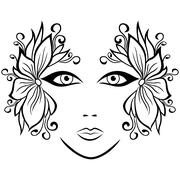 Abstract female face with floral accessories Stock Illustration