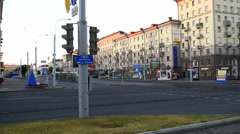 Independence Avenue in Minsk, Belarus Stock Footage