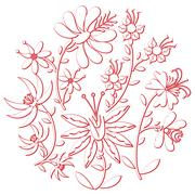 Floral folk pattern in circle with 3 d effect Stock Illustration