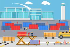 Loading Freight Containers in a Cargo Plane Stock Illustration