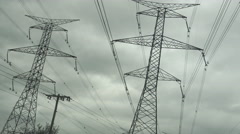 Electric  or Hydro Towers in the City Stock Footage
