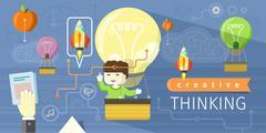 Creative Thinking Design Flat Concept - stock illustration