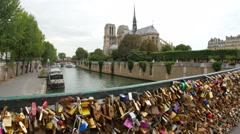 Love lock bridges near notre dame de paris, france Stock Footage