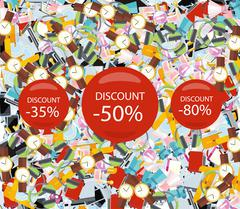 Pattern Consumerism Sale Sticker and Item - stock illustration
