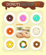 Sweet Donuts Set Design Flat Food Stock Illustration