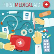 First Medical Aid Kit Design Flat Stock Illustration