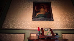 ancient book and desk in luxury interior dolly camera - stock footage