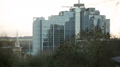Glass tower in England - stock footage