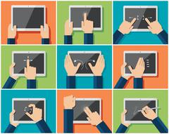Set of flat hand  icons showing commonly used multi-touch gestures Stock Illustration