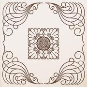 vintage border  frame  with ornament - stock illustration