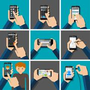 Hands holding touchscreen smartphones with applications on screens. - stock illustration