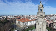 Aerial View of Clerigos Tower, Porto, Portugal Stock Footage