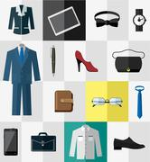 Set of flat business work clothes and accessories icons - stock illustration