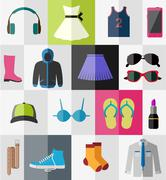 Set of flat teen's clothes and accessories - stock illustration
