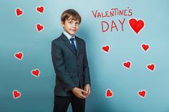 boy businessman adolescence is Valentine's Day celebration carto - stock photo
