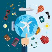 Icons of traveling, planning vacation, tourism and journey objects. Stock Illustration