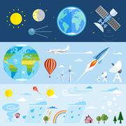 Flat vector icons of space and meteorological elements. Stock Illustration