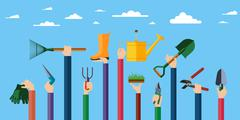 Flat design illustration of hands holding gardening tools. Stock Illustration
