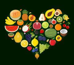 Set of fruit icons forming heart shape. - stock illustration