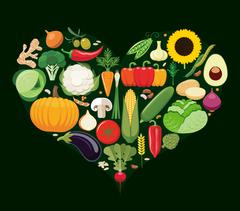 Set of vegetable icons forming heart shape. Stock Illustration