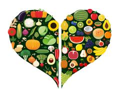 Set of fruit and vegetable icons forming heart shape. - stock illustration
