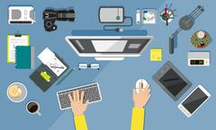 Office equipment icons. Flat design style. - stock illustration