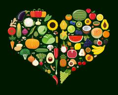 Stock Illustration of Set of fruit and vegetable icons forming heart shape.