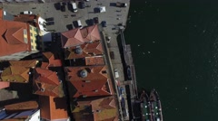 Top View of Sidewalk of Ribeira, Porto, Portugal Stock Footage