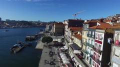 Colorful houses of Ribeira Square, Historical center, Porto, Portugal Stock Footage