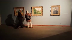 People inside the paintings gallery of Tehran museum of contemporary art Stock Footage